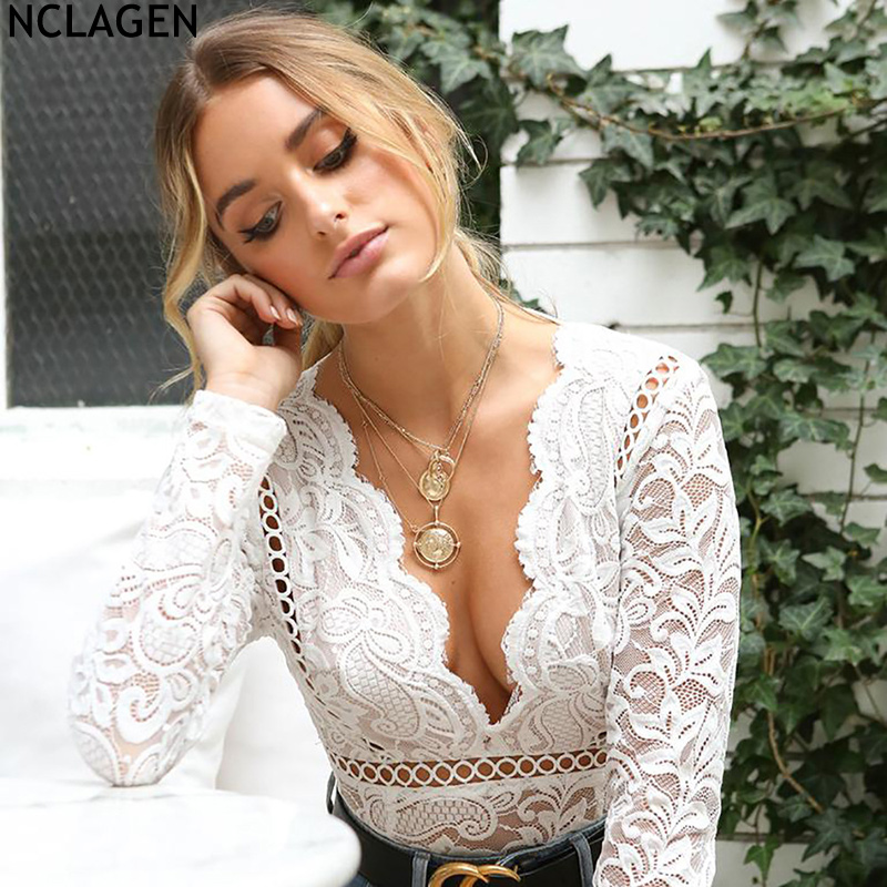 NCLAGEN 2018 New Women Long Sleeve Sexy V Neck Transparent Playsuit Hollow Out White Rom ...