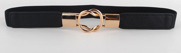 Free Shipping Fashion women's belt elastic waistband gold circle buckle small belts red thin cummerbund woman belt strap brown 11