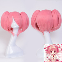 Puella Magi Madoka Magica Kaname Madoka Cosplay Wigs for Women Female Fake Hair Wig 35cm with Two Ponytail Synthetic Hair Pink