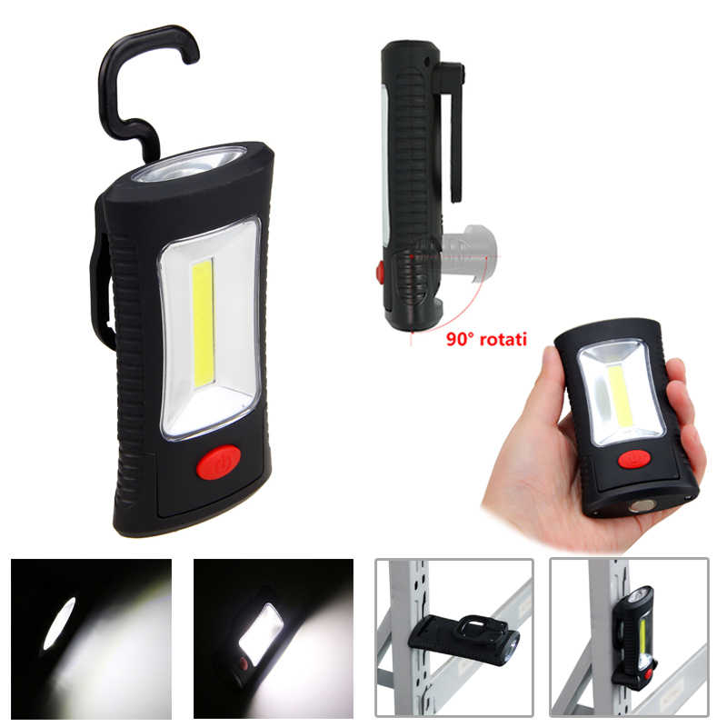 COB LED Magnetic Work Light Folding Hook Hanging Lamp Cordless Work Emergency Flashlight Non slip Car Garage Mechanic Light