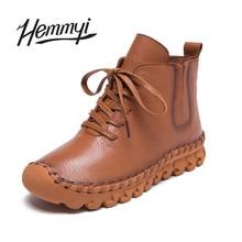 Hemmyi véritable d'hiver en cuir bottes femme pour garder au chaud vache en cuir cheville bottes bottine doux botas marque de luxe femme zapatos