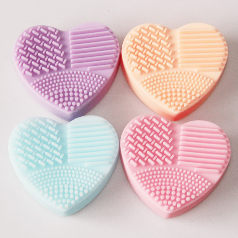 MOONBIFFY Heart Shape Clean Make up Brushes Wash Brush Silica Glove Scrubber Board Cosmetic Cleaning Tools for makeup brushes heart shape brush stand brush holder