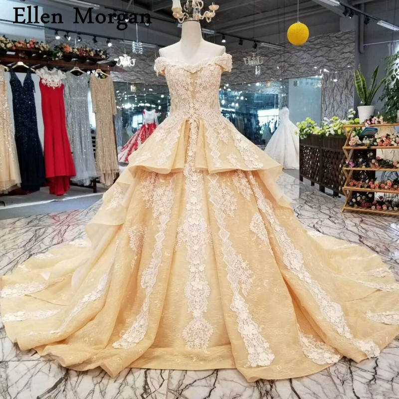 Gold Lace Ball Gowns Wedding Dresses Off Shoulder Corset