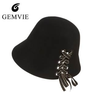 8de82e53b06 gemvie Autumn Winter Women Bucket Hat Female Wool Felt Cap
