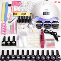 12 Color Gel Nail Polish Varnish Extension Kit with 36w/48w /80w Led Uv Nail Lamp Kit for Manicure Set Acrylic Nails Art Tools