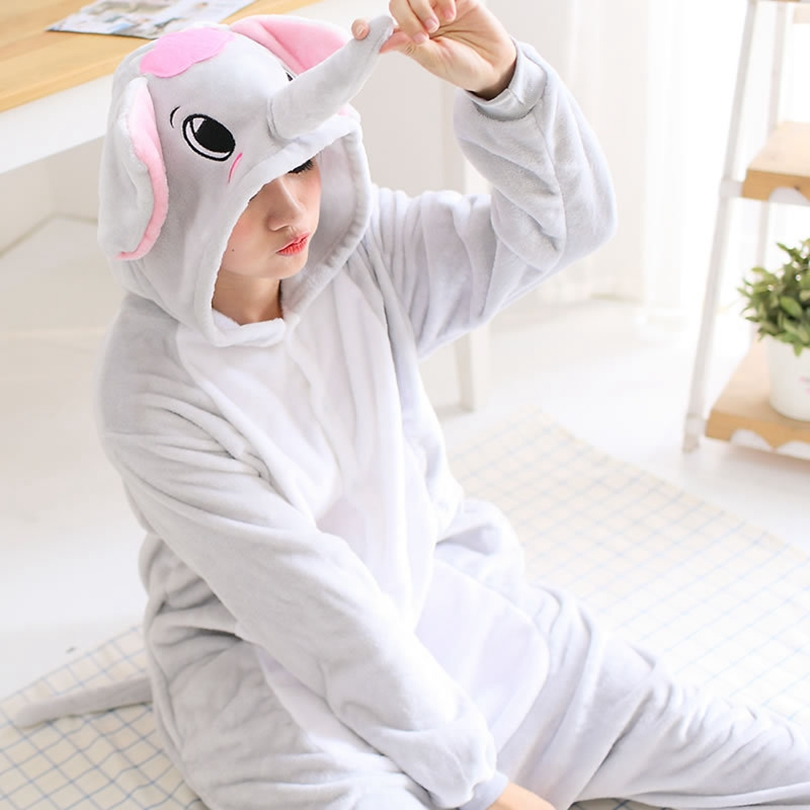 Adults Animal Pajamas Sets Cartoon Sleepwear Cosplay Zipper Women Men Winter Unisex Flannel Elephant Pajamas