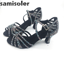 Samisoler Black Rhinestone ballroom dance shoes women Salsa dance shoes women Professional tango Latin Shoes style high heels free shipping rhinestone shine crystal dance shoes high heel dance party shoes black tango dance shoes