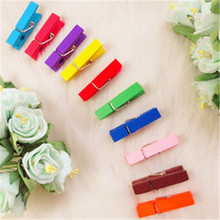 DL 3.5cm color wood Mini photo clip photo wooden clip wholesale D27-25 Stationery for office supplies students(China)