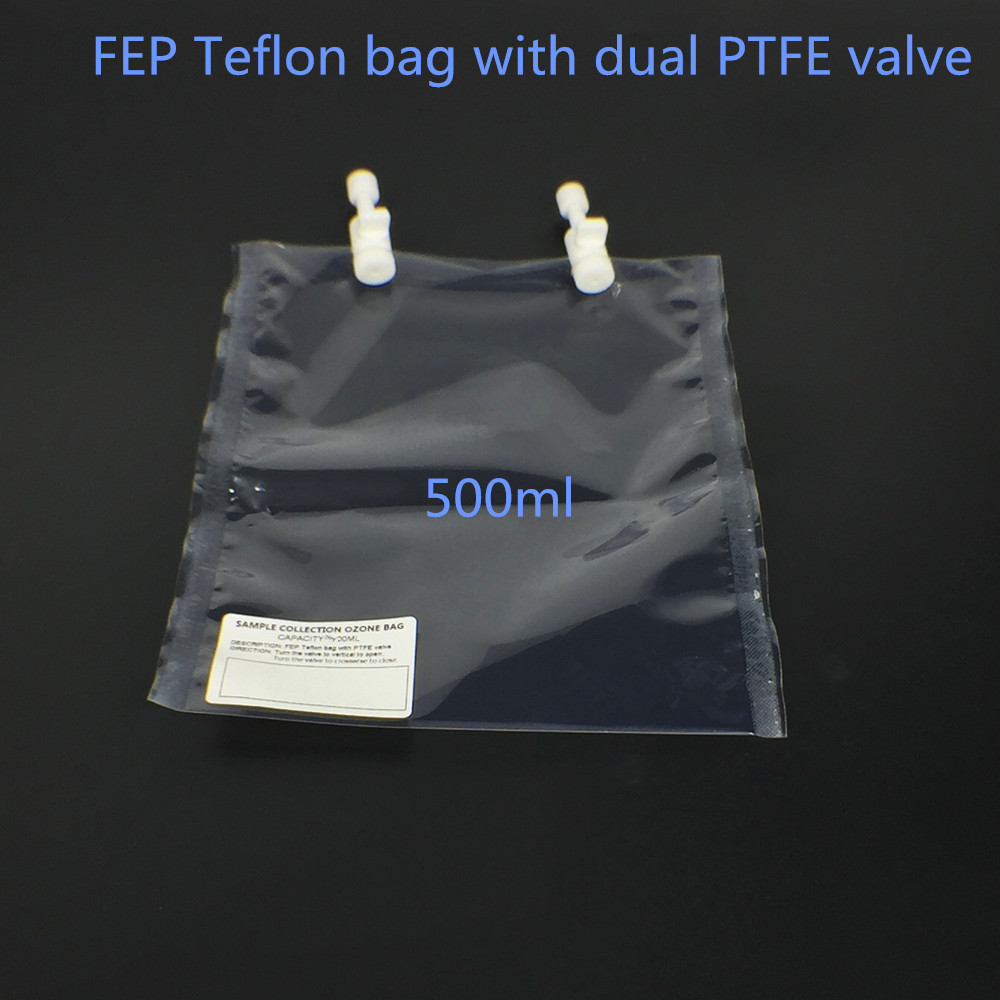 Ozone resistant sampling bag, FEP Teflon bag with PTFE Dual Valve 500ml non return valve ozone check valve pvdf material resistant ozone