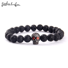 WML New Trendy Skull bead Charm men bracelets Black CZ Head Bracelets & Bangles for women Lava Stone Jewelry
