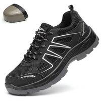 DAOKFPO для мужчин мужские зимние повседневные ботинки дышащие четыре сезона wo мужчин анти-разбив сталь носок шапки анти-пирсинг волокно для м...