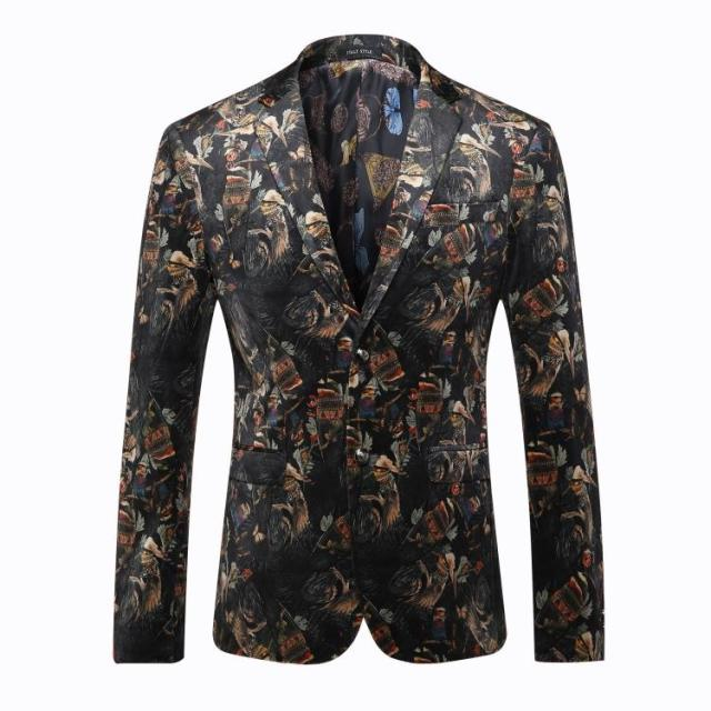 Europe and the United States men's wear in autumn 2016 The new winter Long sleeve fashion retro printing velvet jackets