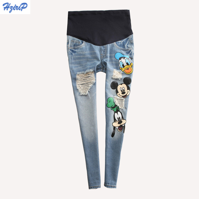 Hrizip Casual Cartoon Maternity Pants for Pregnant Women Hollow Out Hole Jeans Autumn Care abdomen Pregnancy Pants