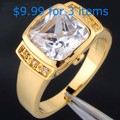 Mens Gold Plated Square Stone Simulated Garnet CZ Stone Wedding Ring for Men Wholesale Jewelry