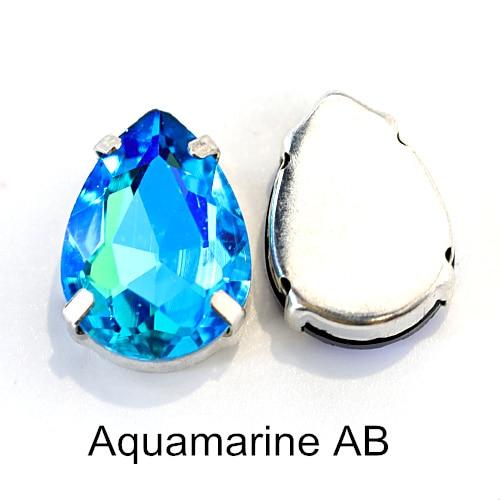 5 размеров красочные стеклянные хрустальные серебряные коготь пришивные стразы с коготь капли воды красные Пришивные коготь стразы для одежды B0403 - Цвет: Aquamarine AB