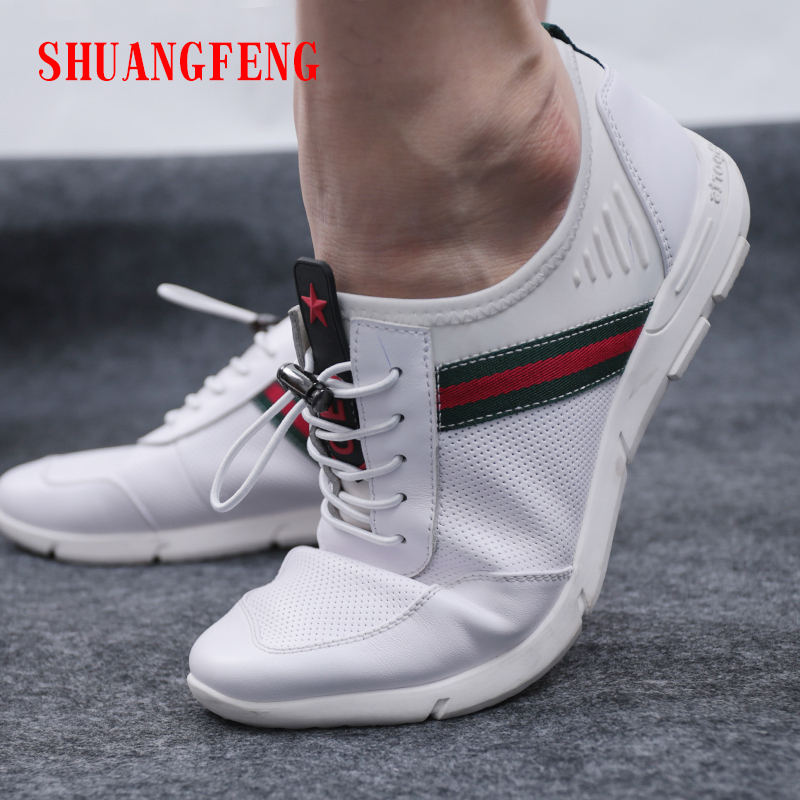 SHUANGFENG Men Casual Shoes Genuine Leather Man Shoes 2018 Summer - Men's Shoes - Photo 1