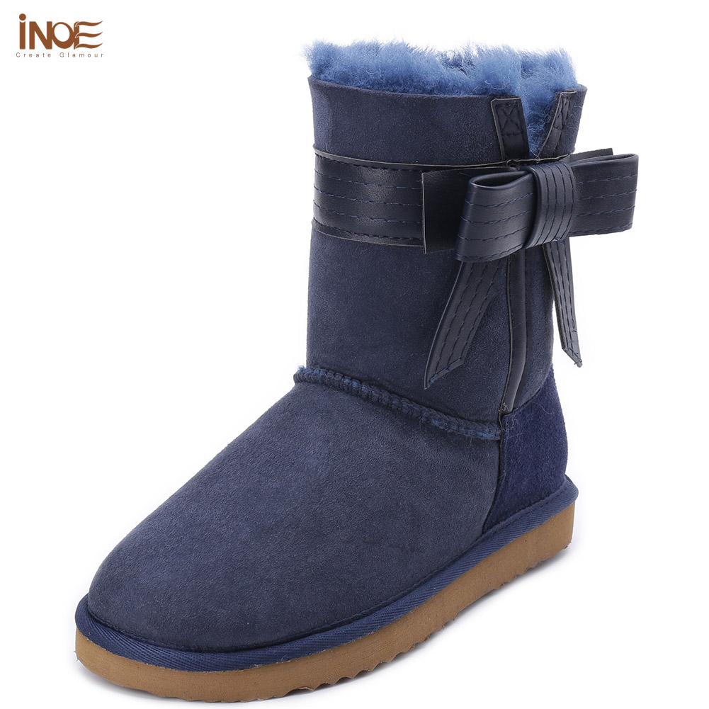 INOE Fashion girls sheepskin leather bow-knot fur lined snow boots for women winter shoes red purple high quality free shipping