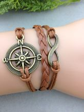 1pc Bronze Infinity Wish & Compass Bracelet Coffee Wax Cords Brown Braided Leather Vintage Style Bracelet 1058 MIn order 10$(China)