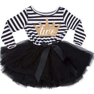 Little Girl Stripe Tutu Dress For Baby Kids First Birthday Party Gift Dress Long Sleeve Crown Print Girls Infantil Vestido(China)