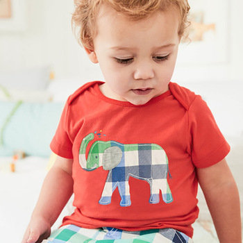 Little Maven New Summer Children Clothing Cute Short O-neck Elephant Applique Quality Striped Cotton Boys Casual Tshirt