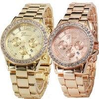 Geneva Fashion Dress Woman Date Quartz Wrist Watch Female Luxury Crystal Ladies Women Clock High Quality