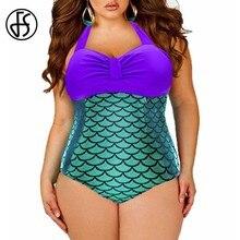 a8dcf73e303a1 FS Sexy One Piece Mermaid Swimsuit Women Monokini Push Up Halter Brazilian  Bikini 2018 Plus Size