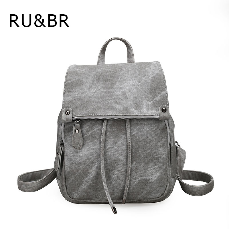 RU BR College Winds Shoulders Bags PU Leather Women s Travel Backpacks Soft Solid Fashion Women