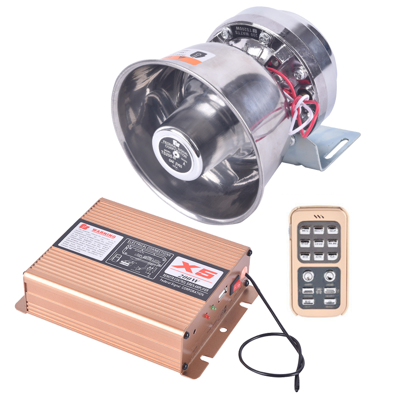 GUBANG DC12V 8 Sound Car alarm 200W high definition Megaphone Truck Car Loud Speaker Wireless Remote Control