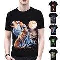 A2 Novo 2017 Popular Famosa Marca Muito Lobo Animais Casuais Impressão 3D T Shirt Homens Camisas hombre Camisetas de Algodão O-pescoço camisetas