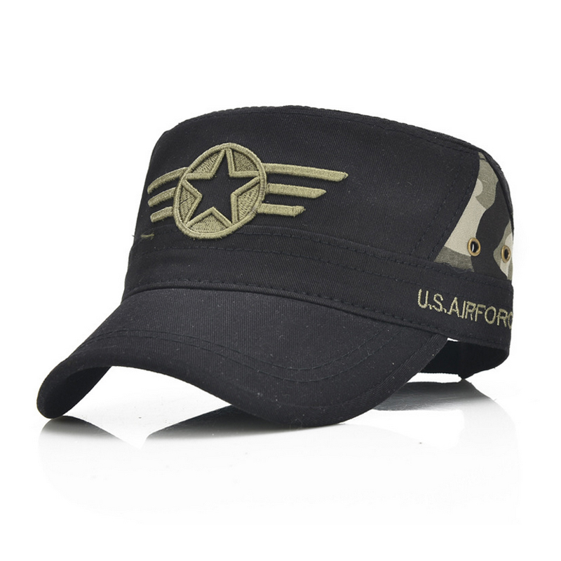 Army green caps flat top style star Embroidery Design Cotton Baseball sun hats adjustable black camouflage Buckle Back fashion rivets cotton polyester fiber men s flat top hat cap army green