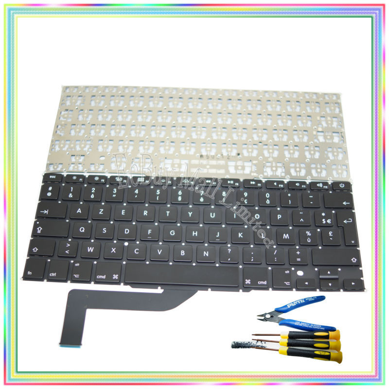Brand new AZERTY FR French France Keyboard without Backlight & keyboard screws screwdriver tools for Macbook Retina A1398