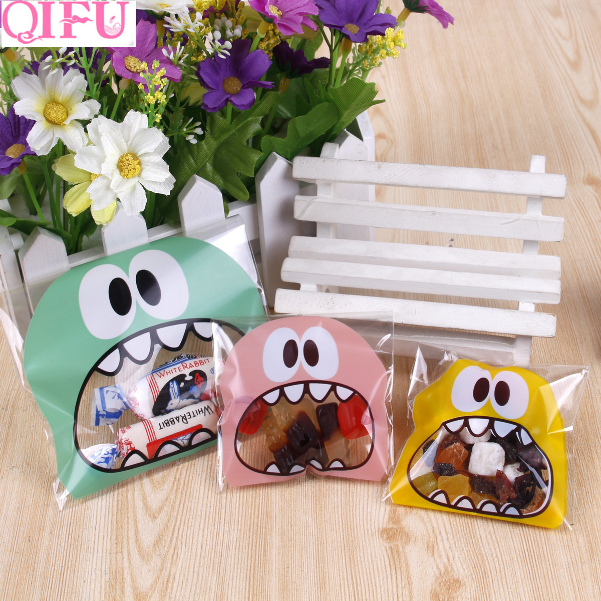 QIFU Plastic Transparent Frosted Cellophane Candy Cookie Gift Bag Package For DIY Biscuits Snack Baking Sticker Wedding Birthday