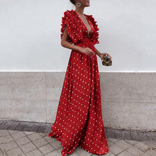 2019 Women Summer Dress boho Sexy Casual Elegant Ruffles Long Party Dresses Female V-Neck Floral Maxi Dress Plus Size vestidos(China)