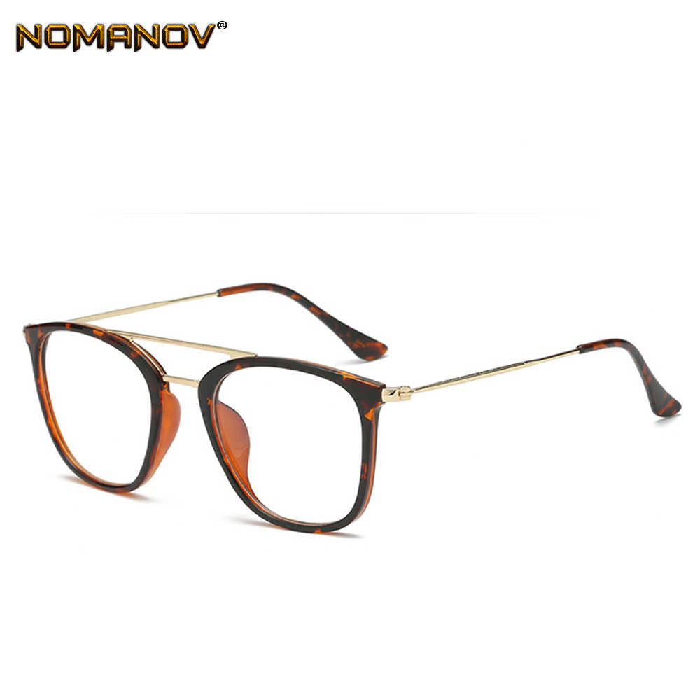 Double bridge Oversized eyeglasses frame Classic TREND Spectacles with Optical lenses or Photochromic gray / brown Lenses