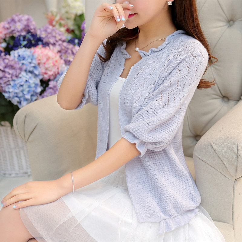 Cardigan Women's Sweater Thin Spring Outfit With The 2019 Korean Version Of Loose Spring And Autumn Hollow Shawl Jacket