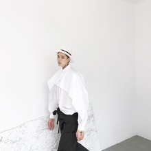 M-5XL!!! Big yards of men's shirts  2017 white batwing sleeve midsweet patchwork long-sleeve shirt The singer's clothing