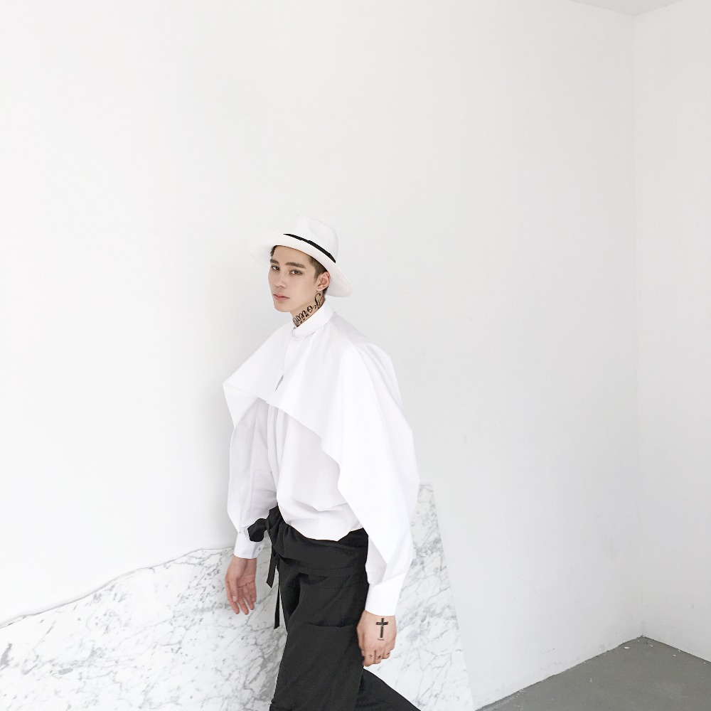 M-5XL !!! Große Meter von Herrenhemden 2018 weiße Fledermausärmel - Herrenbekleidung