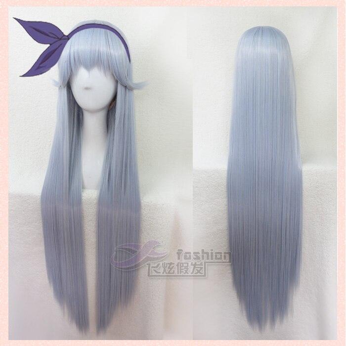 ТВ цитрусовых Shitorasu Nina Татибана Косплэй парик длинные прямые светло синий взрослых волос на лице челкой