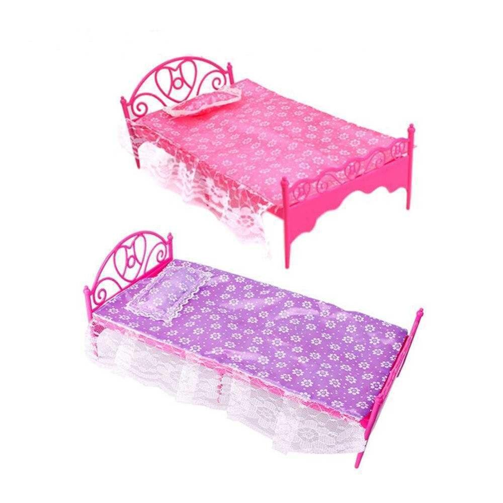 Barbie doll house furniture - Fashion Plastic Bed Bedroom Furniture For Barbie Dolls Dollhouse Pink Or Purple Girl Birthday Gift