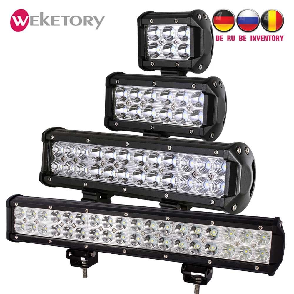 Weketory luz de led para barra, 4 7 12 17 polegadas 18w 36w 72w 108w para trator de motocicleta, barco fora da estrada 4wd 4x4 caminhão suv atv