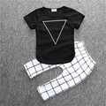 Triangle Geometric printing T-shirt and Plaid pants kids Clothing Sets 2pcs/set comfortable soft baby boy girl clothes