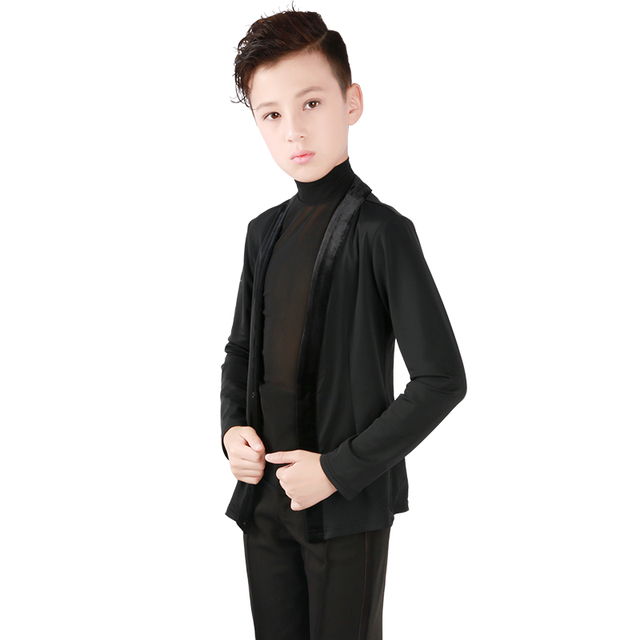 キッズボーイズラテンダンス衣装ノースリーブメッシュラテンシャツジャケットスーツモダン社交タンゴラテンダンスの摩耗