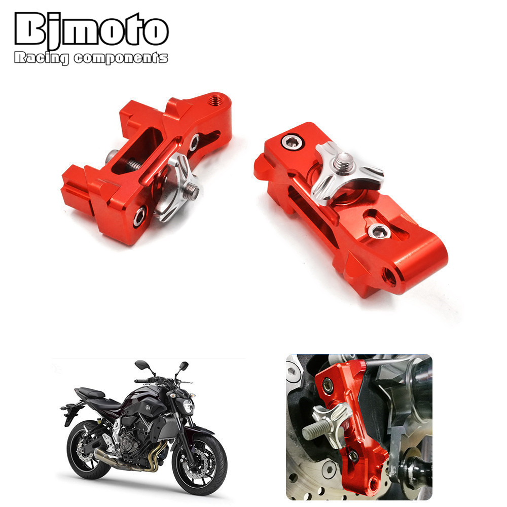 Bjmoto Pair MT07 Motorcycle CNC Aluminum Rear Axle Spindle Chain Adjuster Blocks for Yamaha MT-07 MT07 2013-2017 FZ-07 2015-2017 motoo cnc aluminum rear tire hugger fender mudguard chain guard cover for yamaha mt07 mt 07 2013 2017 fz07 2015 2017