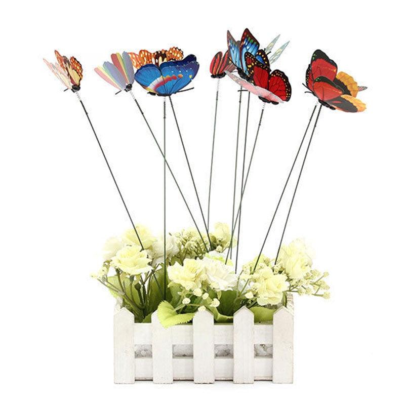 225 & US $1.69 5% OFF|Hot Sale 10Pcs/set 3D Butterflies On Sticks Plant Pots Flower Beds Decoration 7cm #83233-in Artificial \u0026 Dried Flowers from Home \u0026 ...