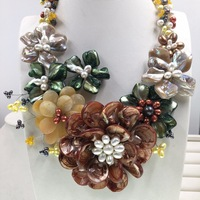 Fashion Mop Jewelry Luxury natural white Baroque shell FW pearl flower choker jades necklace