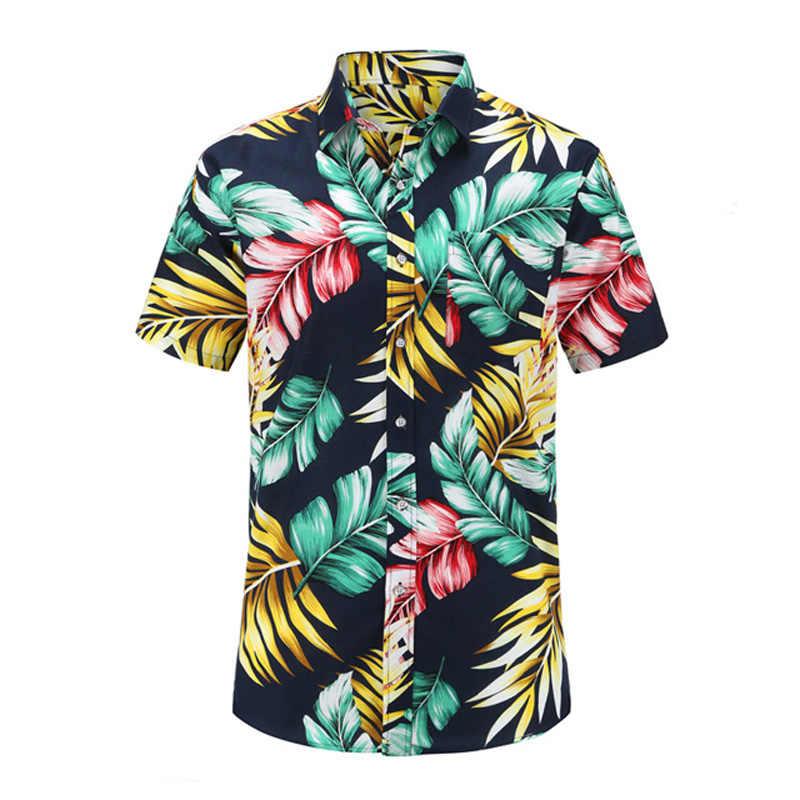 Мужская рубашка, летняя, стильная, с принтом пальмы, Пляжная, Мужская гавайская рубашка, повседневная, короткий рукав, Цветочная гавайская рубашка, 3XL Camisa Masculina