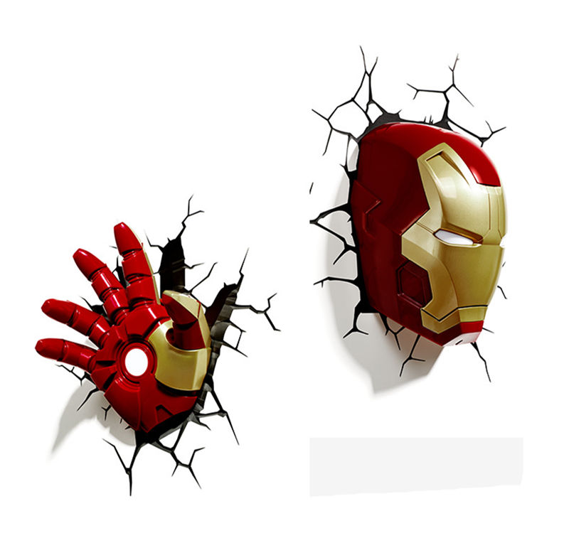 [New] Creative The Avengers Captain Iron man Helmet Glove model 3D Wall Lamp Unique LED light Helmet lamp Home room decorations 1 1 the avengers iron man updated gauntlet glove led light left right hand new with retail box