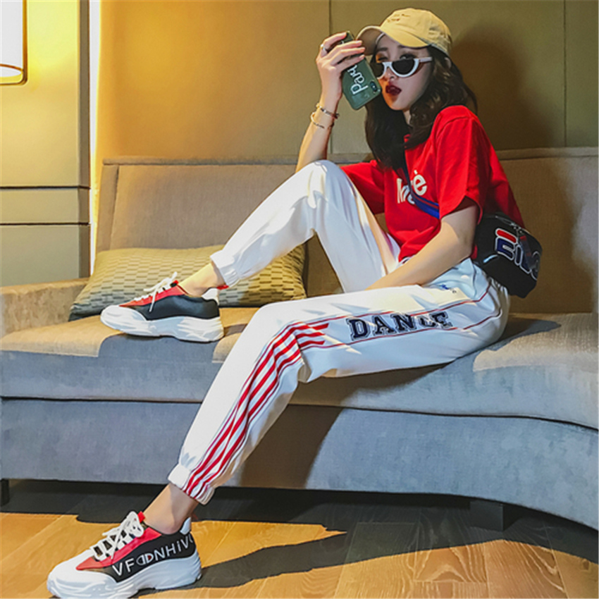 Casual Harem Pants hip hop fashion plus size S-2XL loose beam legs women's couple Harajuku pants dropshipping pantalon femme 36