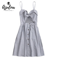 AZULINA Casual Spaghetti Strap Striped Dress Women Front Knot Hollow Out Cami Cotton Linen Dress 2017