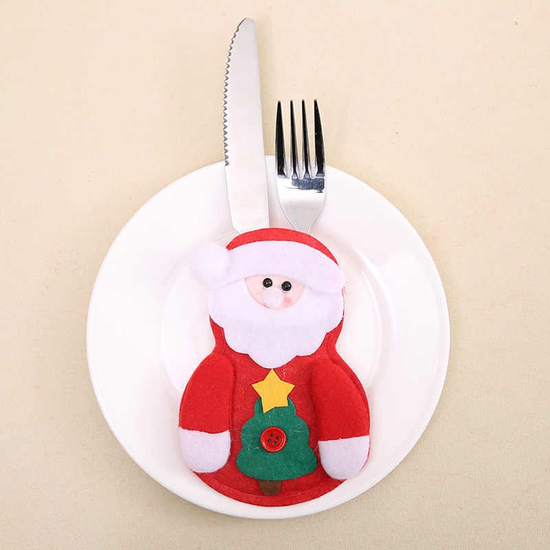 Рождественский Декор Снеговик кухонная посуда держатель сумка вечерние подарок Рождественский Орнамент Рождественские украшения для домашнего стола 2019 Navidad